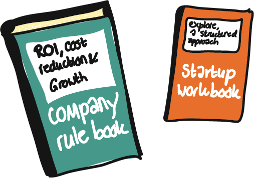 company rule book versus startup workbook